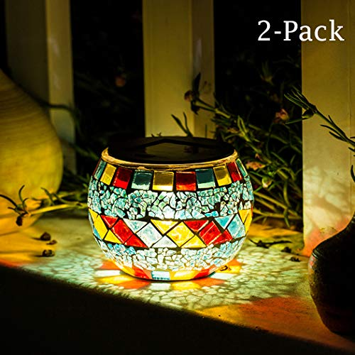 Solar Table Lamp Mosaic Glass Ball Lights Waterproof Warm White Decoration Light 2 Pack for Home,...