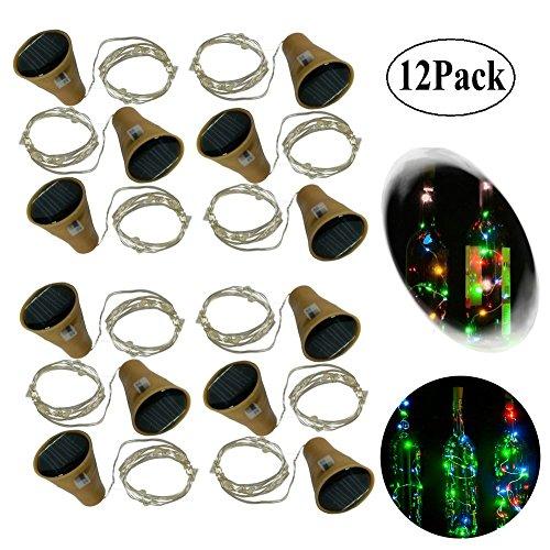 10 LED Bulbs Cork Bottle Lights Solar Powered 6 Pack/12 Pack 39 Inch/10 LED String Wine Cork Fairy...