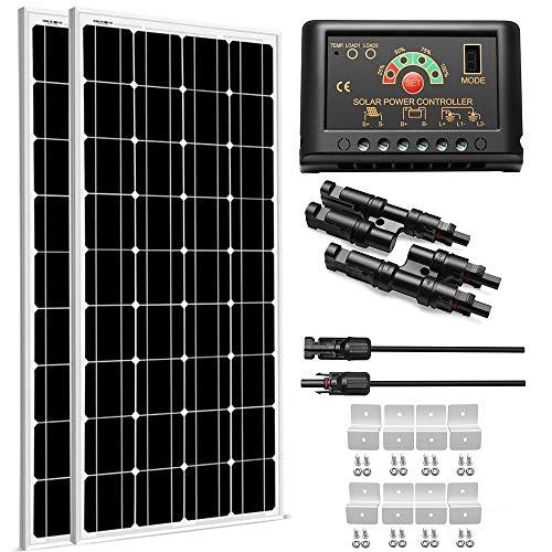 SUNGOLDPOWER 200 Watt 12V Monocrystalline Solar Panel Module Kit:2pcs 100W Mono Solar Panel Solar...