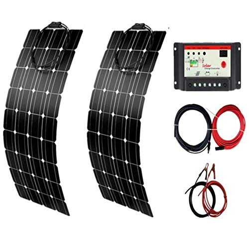AUECOOR 200 Watts 12 Volts Flexible Solar Panel Kit Bendable Lightweight Waterproof Off-Grid Solar...