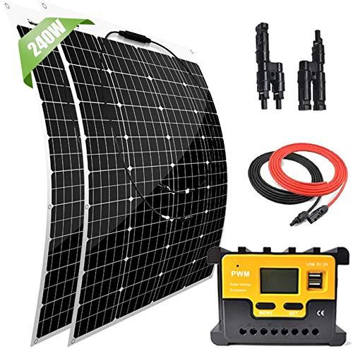 Giosolar 200 Watt 12 Volt Solar Marine Kit Monocrystalline Panel with 20A LED Charge Controller for...