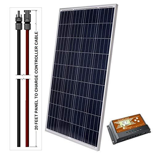 LightCatcher-Solar 100-Watt 12-Volt Polycrystalline Solar Panel Kit (Panel+PWM Controller + 20'...