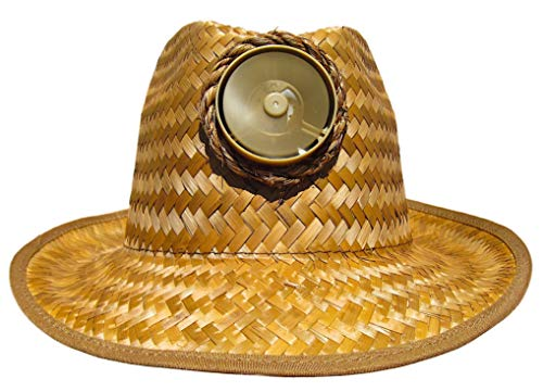 Fedora Sun Hat Cooling Solar Powered with Fan Brown Straw Cool UPF 50+ Protection M/L (Band)
