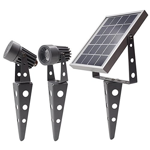 Mini 50X Twin Solar Spotlight (Cool White LED) Outdoor Waterproof Dimmable Dusk to Dawn for Garden...