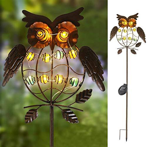 TAKE ME Garden Solar Lights Outdoor,Solar Powered Stake Lights - Metal OWL LED Decorative Garden...