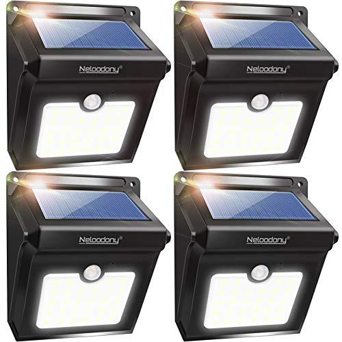 Neloodony Solar Lights Outdoor, Wireless 28 LED Motion Sensor Solar Lights with Dark Sensing Auto...