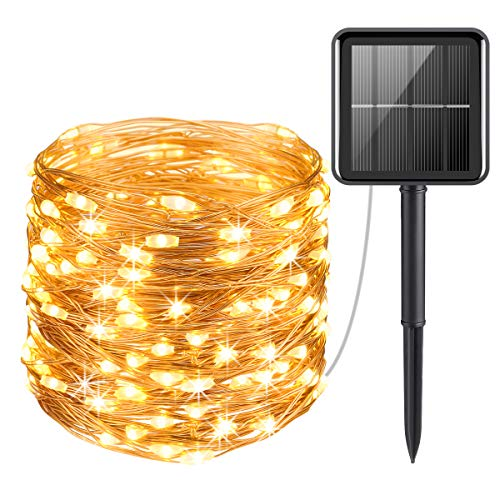 AMIR Upgraded Solar String Lights Outdoor, Mini 33Feet 100 LED Copper Wire Lights, Solar Powered...