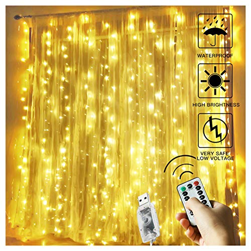 BETUS 300 LED Window Curtain String Light With Remote, Timer - 9.8 x 9.8 Ft 8 Lighting Modes USB...