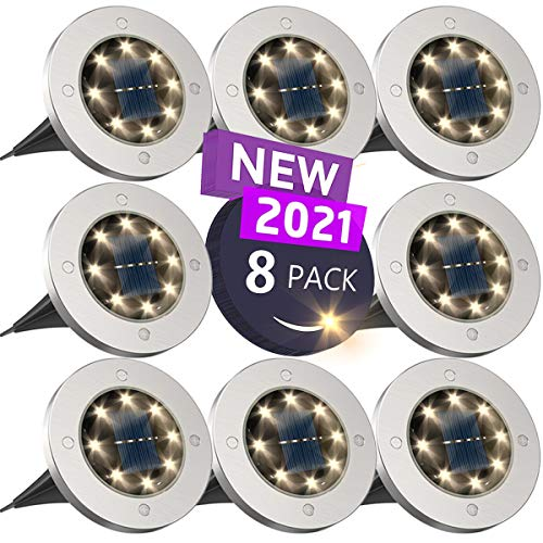 Solar Ground Lights, Disk Lights Solar Powered - 8 Led, Outdoor in-ground Solar Lights for...