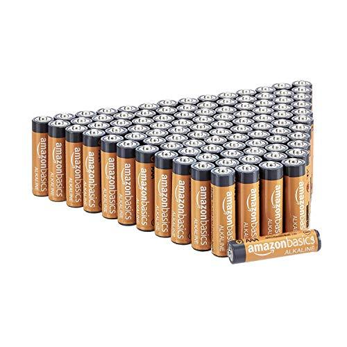Amazon Basics 100 Pack AAA High-Performance Alkaline Batteries, 10-Year Shelf Life, Easy to Open...