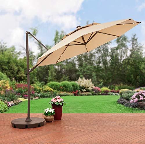 Pool Umbrella with Lights Offset Patio 11ft Base Adjustable Large Solar Light Olefin Sun Shade...