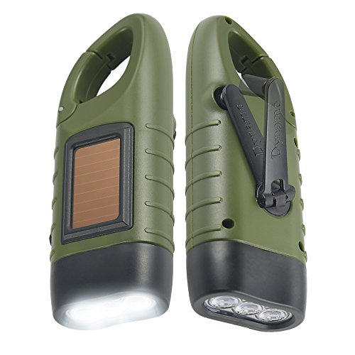 Simpeak [ 2-Pack] Hand Crank Solar Powered Flashlight, Emergency Rechargeable LED Flashlight,...