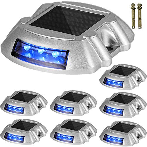 Happybuy Driveway Lights 16-Pack Solar Driveway Lights Bright Blue with Screw Solar Deck Lights...