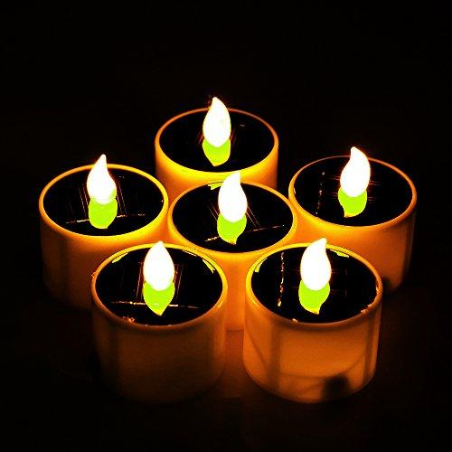 Solar Flameless Candles Sunsbell Solar flameless tealight Candles Yellow Flickering Light with Light...