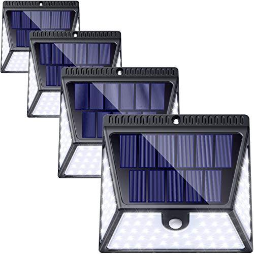 82 LED Solar Light Outdoor 4 Pack, Wireless Waterproof Solar Motion Sensor Light Outdoor Solar...