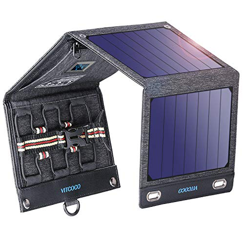 Solar Charger Solar Panel Charger, VITCOCO 16W Foldable Solar Phone Charger with 2 USB Ports &...