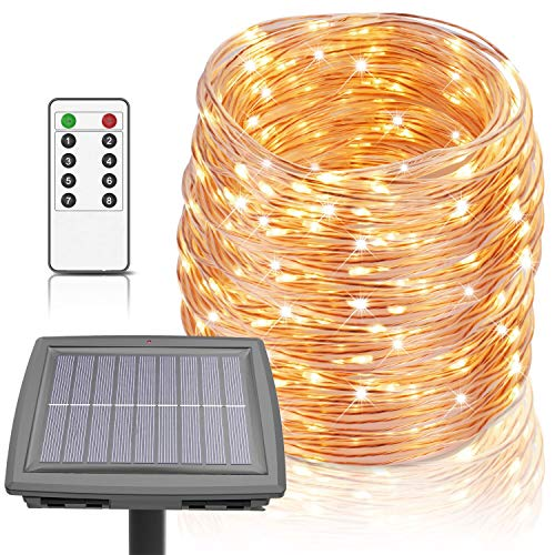 100 Ft Solar Rope Lights, Outdoor String Lights Powered by Solar and Battery, 8 Modes 300 LEDs IP67...
