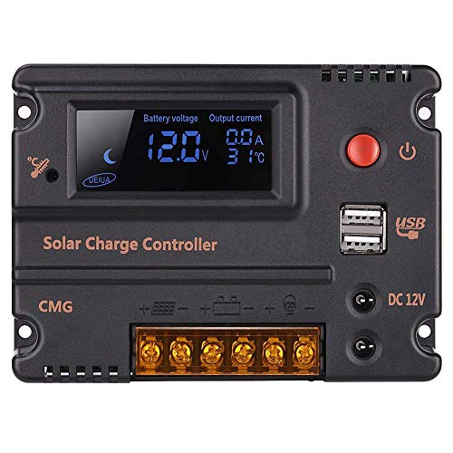 GHB 20A 12V 24V Solar Charge Controller Auto Switch LCD Solar Panel Battery Regulator Charge...