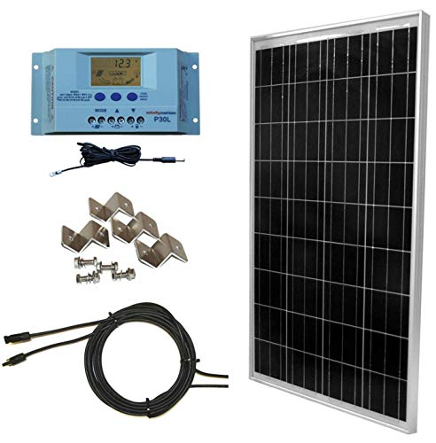 WindyNation 100 Watt Solar Panel Off-Grid RV Boat Kit with LCD PWM Charge Controller + Solar Cable +...