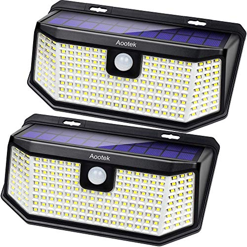 Aootek 182 Led Solar outdoor motion sensor lights upgraded Solar Panel to 15.3 in2 and 3...