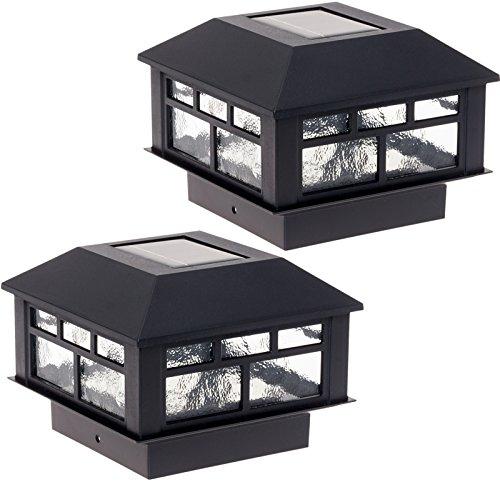 GreenLighting 2 Pack Modern Design Solar Powered 10 Lumen Post Cap Light for 4x4 or 5x5 Posts...