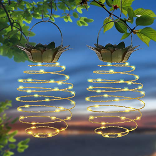Doingart Garden Solar Lights Outdoor Decor 2 Pack Pineapple Solar Path Lights Hanging Fairy Lights,...