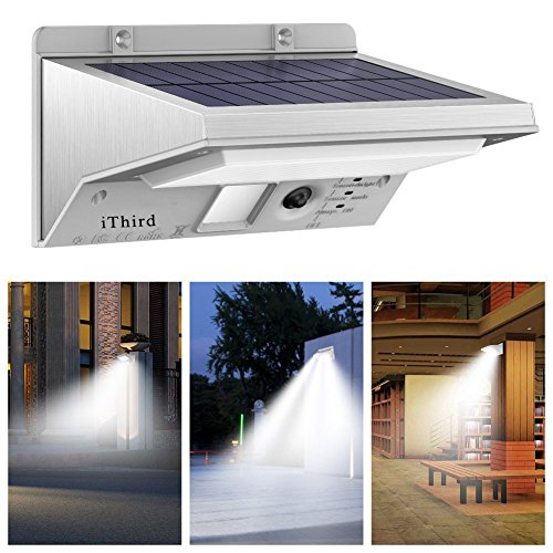 Solar Lights Outdoor Motion Sensor, iThird LED Solar Powered Security Lights Stainless Steel for...