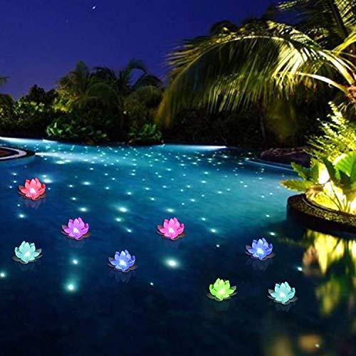 Floating Pool Lights,LED Pool Lights,Color-Changing Flower Lotus Night Lights CR2032 Battery Powered...