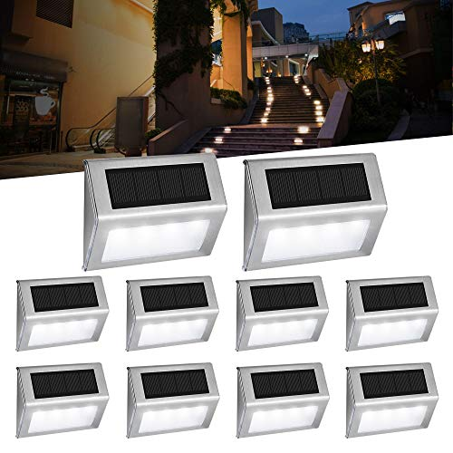 Easternstar Solar Step Lights 10-Pack Stainless Steel Bright 4 LED Solar Powered Deck Lights...