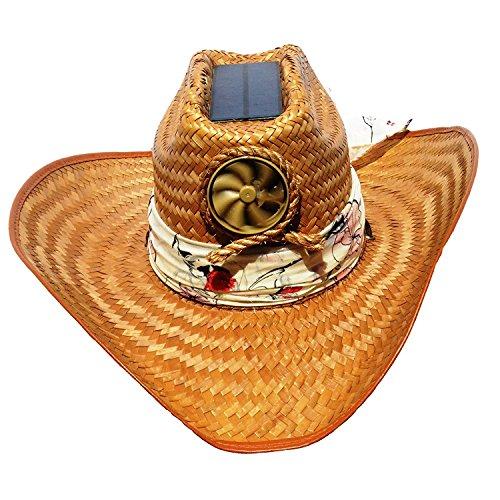 Cooling Sun Straw Solar Ladys Palm Leaf Cowgirl Hat w. Interchangable Scarf Meduim