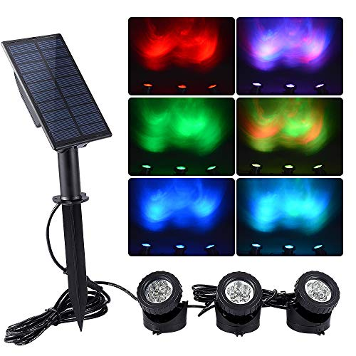 WishHome Solar Pond Lights Outdoor, 3 in 1 RGB LED Fountain Lights, Dusk to Dawn Landscape Spotlight...