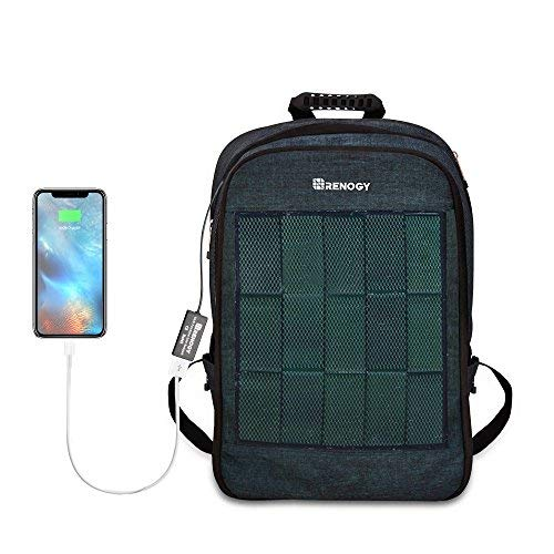 Renogy Solar Panel Powered Backpack Water Resistant Laptop Bag 20L Capacity 5.6W USB Charging Port...