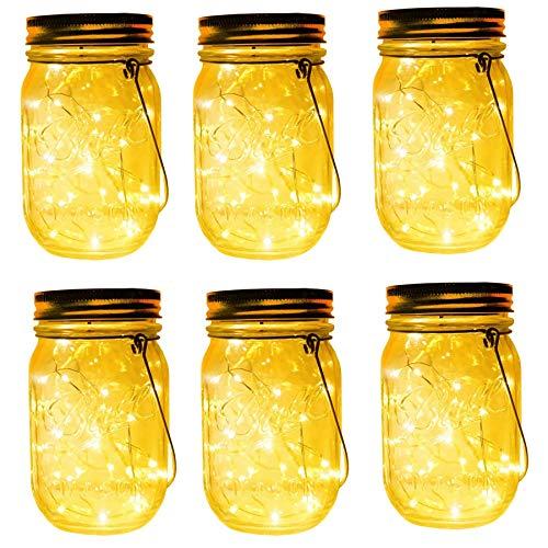 6-Pack 30 LEDs Solar Mason Jar Hanging Lights,Led Fairy Firefly String Lights with Mason Jar...