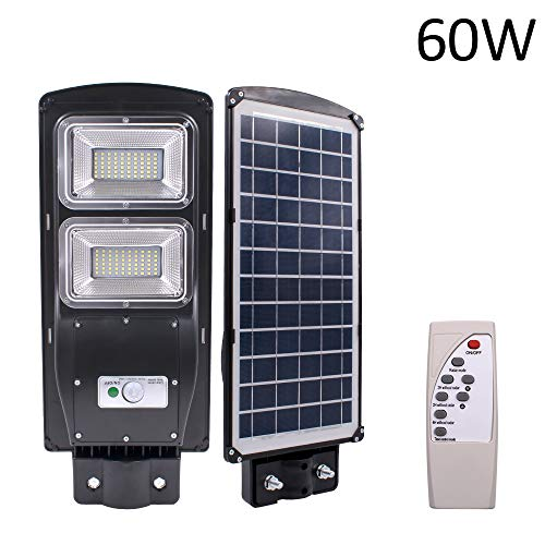 Goujxcy LED Street Lighting,60W 120-LED Solar Sensor Outdoor Light with Light Control and Radar...