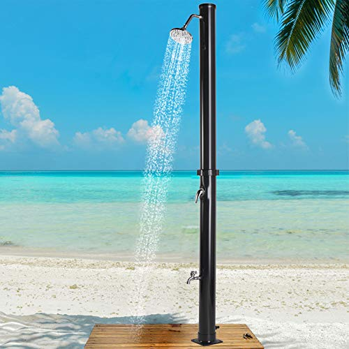 JAXPETY 7.2Ft Solar Heated Shower Outdoor w/Head Temperature Adjustment & Faucet, Dual-Purpose...
