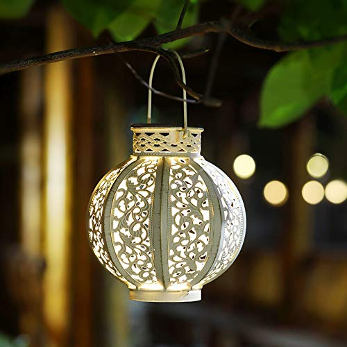 Maggift 2 Pack Hanging Solar Lights Outdoor Solar Lights Retro Hanging Solar Lantern with Handle, 6...