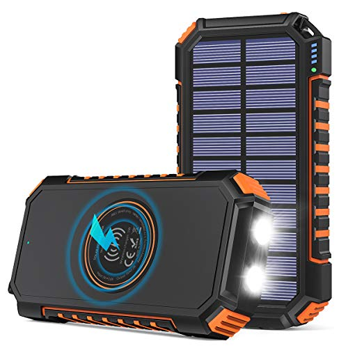 Solar Charger 26800mAh, Riapow Solar Power Bank 4 Outputs USB C Quick Charge Qi Wireless Portable...