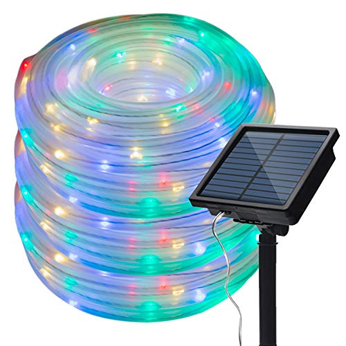 Ecohut Solar Outdoor Rope Lights 100 LED Multi-Color Clear String Light 40 feet IP65 Water Frost...