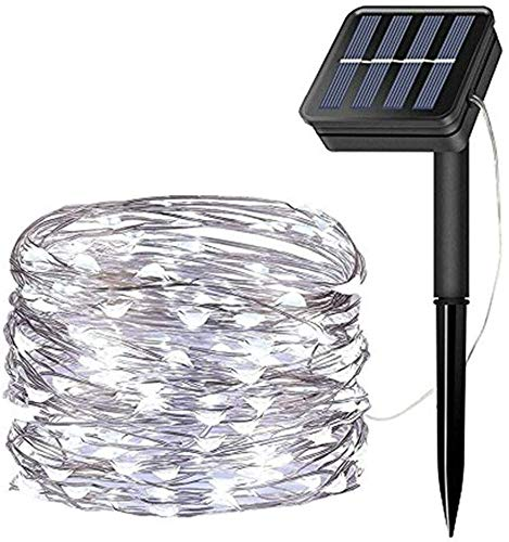 LiyuanQ Solar String Lights, 200 LED Solar Fairy Lights 72 Feet 8 Modes Silver Wire Lights...