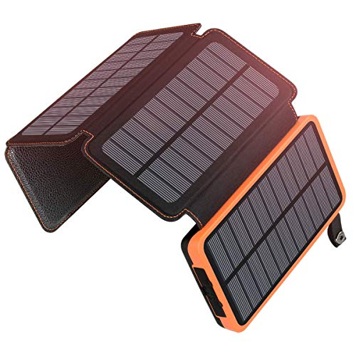 ADDTOP Solar Charger 25000mAh Portable Solar Power Bank with Dual 2.1A Outputs Outdoor External...