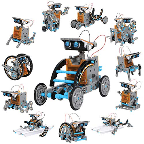 Discovery Kids #MINDBLOWN Solar Robot 12-in-1 Kit, 190-Piece STEM Creation Kit with Working Solar...