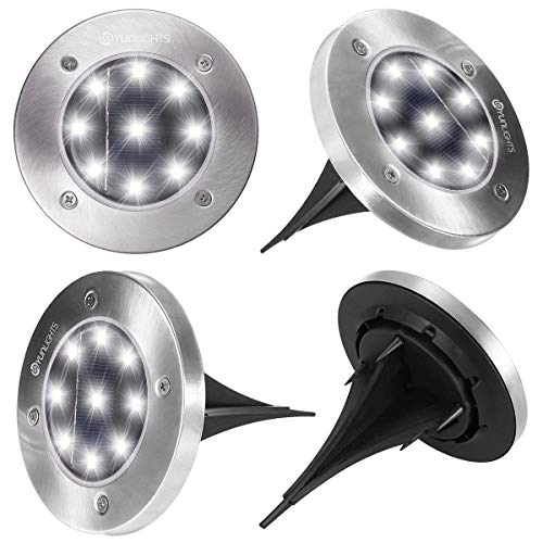 YUNLIGHTS Solar Lights Outdoor 9 LED Solar Ground Lights Outdoor Solar Garden Lights Auto On/Off...