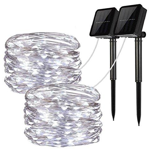 LiyuanQ Solar String Lights, 2 Pack 100 LED Solar Fairy Lights 33 feet 8 Modes Copper Wire Lights...
