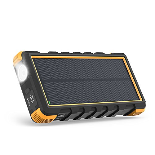 Solar Power Bank, 25000mAh RAVPower Solar Phone Charger with 3 USB Ports, External Battery Pack with...