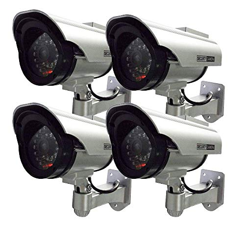 Henxlco 4Pack Dummy Solar Security Camera Fake Flashing Light Infrared LED CCTV Surveillance