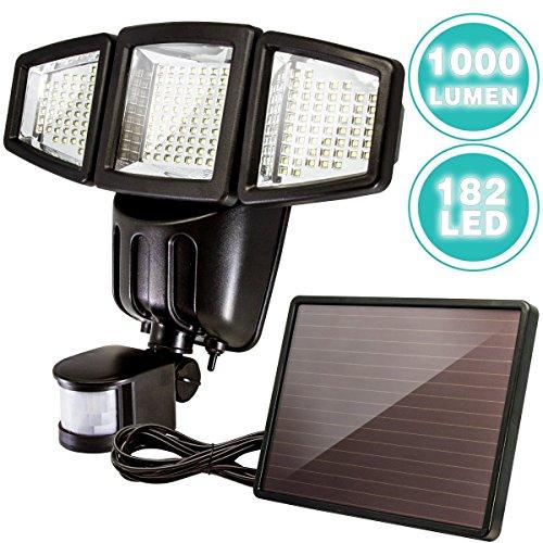 ANKO Solar Powered Motion Sensor Light, 182 LED 1000 Lumen Adjustable Head IP44 Waterproof Outdoor...