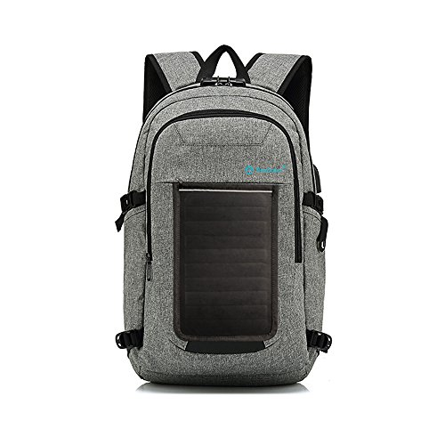 FlexSolar Travel Laptop Backpack with USB Port, 5W Solar Panel Backpack with 3500mAh Battery...