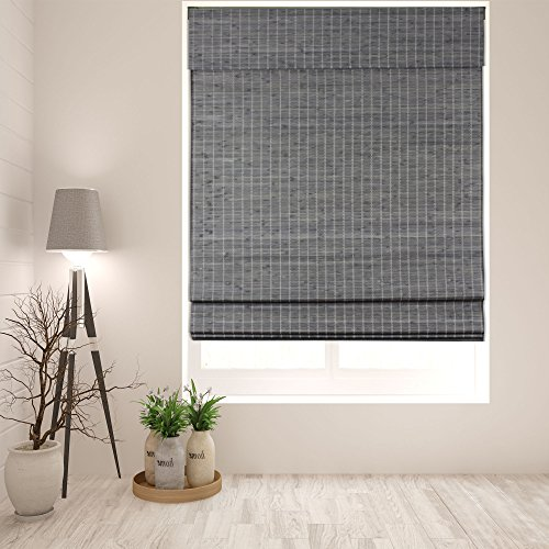 Arlo Blinds Cordless Semi-Privacy Grey-Brown Bamboo Roman Shades Blinds - Size: 34' W x 60' H,...