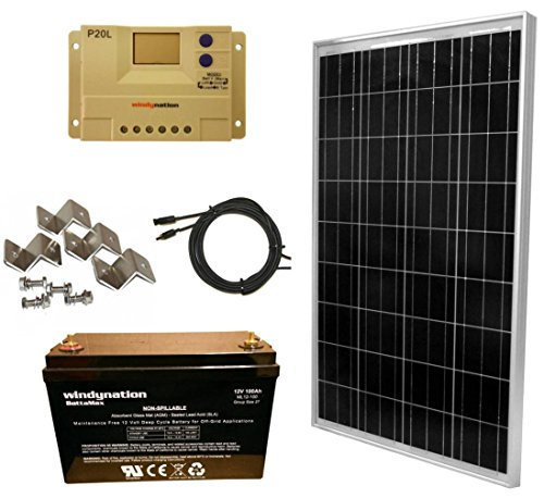 WindyNation 100 Watt Solar Panel Kit: 100W Solar Panel + 20A LCD PWM Charge Controller + Wiring...