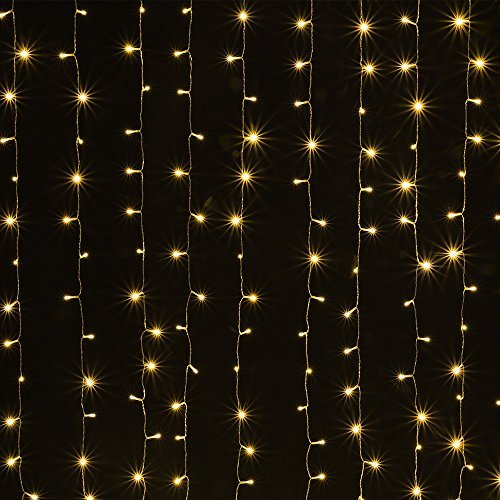 AGPTEK Solar Powered Curtain Icicle Lights, 3M X 3M 8 Modes Fairy String Lights for Christmas...